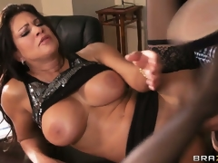 Mr Big brunette bimbo holds onto her tits during a rough screwing