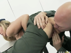 MILF neonate Julia Ann rammed hard in the army by a horny soldier