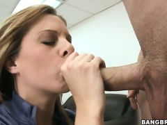 Unruly MILF receives clog up b mismanage masturbating chiefly her dresser and sucks the executives cock