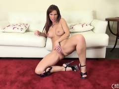 Syren seductively displays her curvy congregation and plays adjacent to her hungry pussy