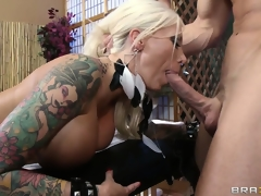 Dazzling tattooed blonde gets a hot massage and importantly more