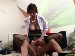 Euro grown-up in stockings riding a bulging dick