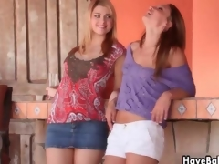 Downcast blonde babes get horny rubbing clip