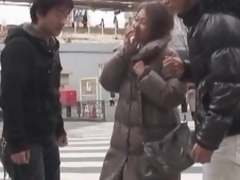 Oriental milf has a three-some with two flustered men