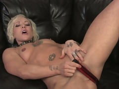 Watch this hot blonde milf undress and masturbate take hd
