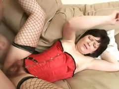 Saggy Titted Brunette Mature Acquires The brush Curly Pussy Banged with the addition of Jizzed On