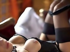 Very blue golden-haired MILF adjacent to corset and nylons fucked slowly!