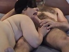 Masked chubby mature wife gives meticulous sucking and shellacking  to her hairy hubby\'s wide-ranging dick - unannounced lock up sweet