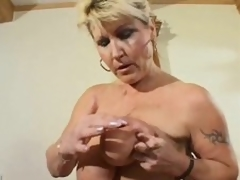 Striptease from a chubby natural mature
