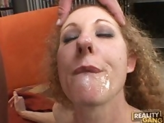 Cock energized milf Annie Body sucks hard for a mouthfull of cum