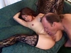 Licking and fingering her adult pussy