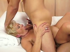 Crazy granny named Malya gets a young added to sexy cock in their way bushy hallow tunnel