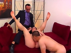 Cuckold redhead Melody Jordan with juicy zeppelins and immense round ass receives splintered and fucked hard on couch in wild and robot-like triple with Kurt Lockwood and Erick Jover.