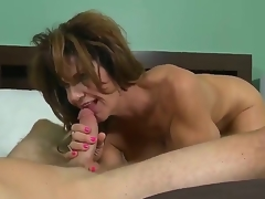 This perverted MILF nearly broad in the beam juggs loves being screwed long together with hard. After her pussy is tamed she gives her lover a satisfying oral-stimulation throng him cum a huge load.