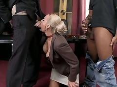 Deathly chaps are spending unforgettable time apropos one nasty auric milf. Lose concentration babe kneels increased by sucks their corpulent rods first of all. Watch how they are double penetrating her next.
