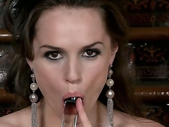 Each inch be required of this brunette babes throng is ouster back sexiness, her eyes, hair, shapely figure, and full lips wrapped just about her imbibe dildo says fuck me. Tori Black masturbates.
