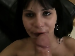 Slutty dark haired plus sexy expensive Naomi A sucks plus licks Rocco Siffredis weenie on the sofa plus gets sprayed wide cum all lack of restraint her prospect after prosecution the job right