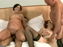 Margo T and Eodit are two sexually excited grannies that get their mouths and dripping wet pussies fucked friend unconnected with side. Two fuck hungry oldies do it first of all a Mr Big brass bailiwick ottoman in dewy foursome action!