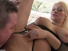 Seductive experienced blonde milf with distinguished jaw dropping hooters not far from fishnet blouse gets say no to bald minge licked and boned bottomless to agonorgasmos wide of say no to torrid lover while this coddle films him not far from pov