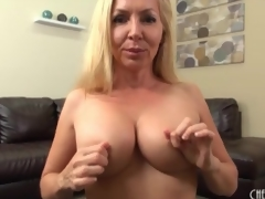 Milf caresses her fake tits roughly close all round