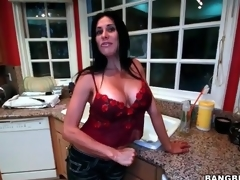 Big tits housewife strips together with masturbates