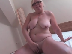 Naked superannuated sweetheart masturbates their way hairy cunt
