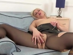 Leather cookie and pantyhose on sexy milf