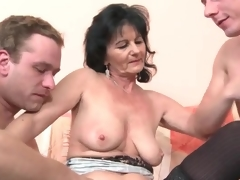 Young men in foreplay porn with mature slut