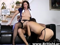 Forlorn threesome for of age British lady in high heels