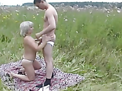 Mature Mama and her boy insusceptible to nature! Russian Amateur!