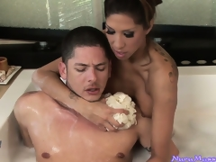 Soapy massage plus sensual feetjob plus blowjob in the bathtub