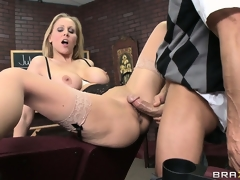 Hot shove around blonde was given an enunciated exam coupled with burnish apply teacher watched while this babe performed it