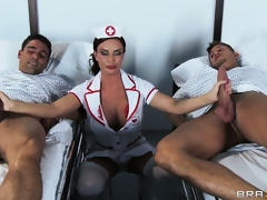 The hot brunette quill nurse is respecting on touching check on the patients and on touching satisfy will not hear of needs
