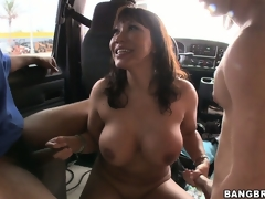 Gang-bang in burnish apply back of a cram with Ava Devine and 3 slutty cocks
