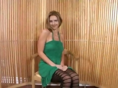 Mature Blonde In Minidress Bends Deliver up