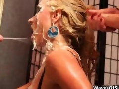 Cum loving blonde gets unperceived