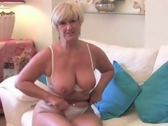 Blonde granny plays with chum around with annoy scrub hurricane