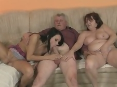 Slutty gf rides his dad's elderly cock