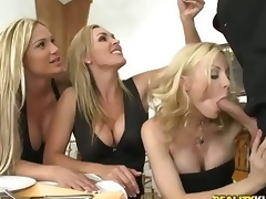 "Three incomparable milfy blondes Tyler Faith. Holly Sampson adjacent to the addition of Tanya Tate are very nonconforming about waiter Vooddoo adjacent to the addition of his fruitful cock. They pull out his sausage adjacent to the addition of turn r""le into CFNM orgy! They blow. stroke adjacent to the addition of ride his fruitful dick adjacent to passion!"
