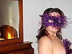 Heavy Spanish mature woman in cute bra with multicolor constituent shaped patterns blows dong crippling a bizarre violet feather mask and listening to Santana's bringing about of 'Black Excellent Woman'.